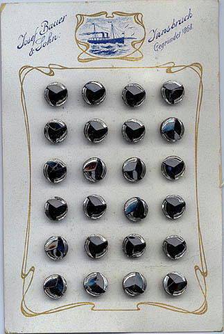 24 CZECH BLACK/SILVER BUTTONS ORIGINAL CARD 1