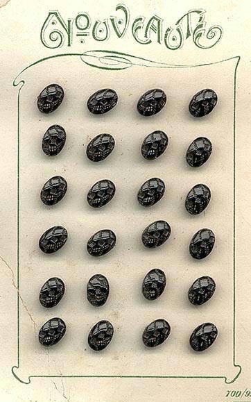 24 BLACK GLASS BUTTONS ORIGINAL CARD 1920