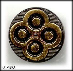 5 BLACK / GOLD GLASS BUTTONS 50's #190