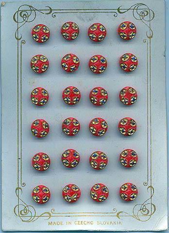 24 CZECH RED BUTTONS ORIGINAL CARD 1920