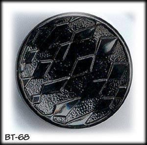 12 BLACK GLASS 3D DESIGN BUTTONS 50's #68