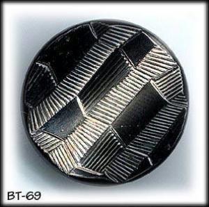 10 BLACK GLASS 3D DESIGN BUTTONS 50's #69