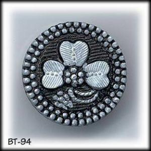 6 BLACK GLASS CLOVERLEAF BUTTONS 30's #94