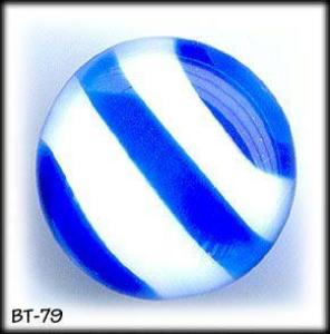 2 BLUE STRIPE MOONGLOW GLASS BUTTONS 50's #79