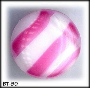 2 PINK STRIPE MOONGLOW GLASS BUTTONS 50's #80