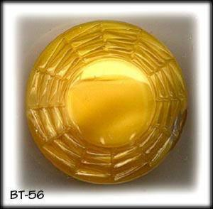 3 LARGE YELLOW  MOONGLOW GLASS BUTTONS 50's #56