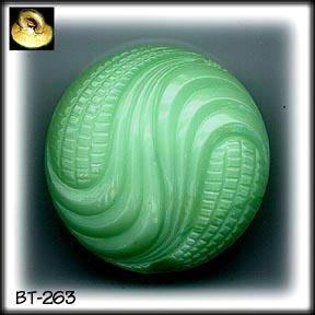 3 VINTAGE AQUA GREEN GLASS BUTTONS 40's BT263