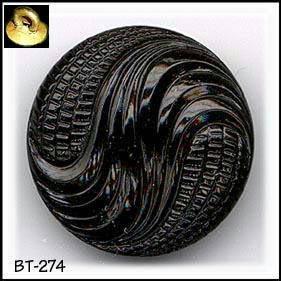 3 VINTAGE BLACK GLASS DESIGN BUTTONS 30's BT274