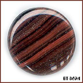5 BROWN AVENTURINE GLASS BUTTONS 50's BT369A