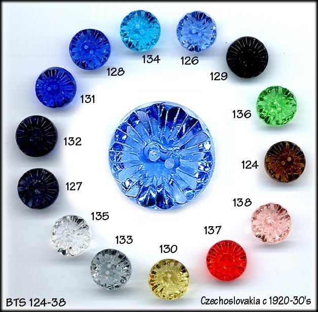 VINTAGE CUT GLASS BUTTONS 3 COLORS BTS124-38K