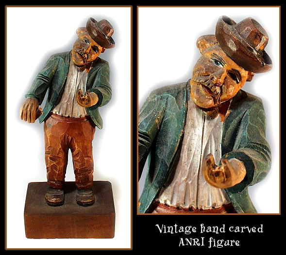 OLD HAND CARVED WOOD ANRI POLYCHROME MUSICIAN