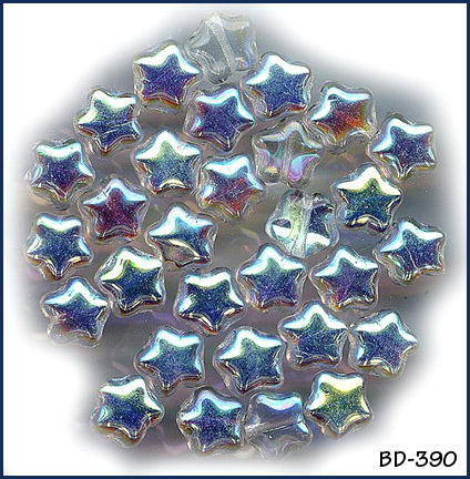 30 VINTAGE CRYSTAL IRIDESCENT STAR BEADS #390