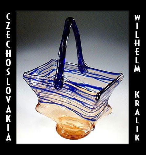 CZECH ART DECO GLASS BASKET KRALIK / CG072