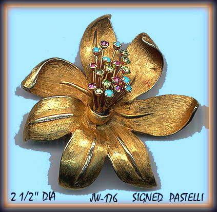 VINTAGE FLOWER BROOCH SIGNED PASTELLI #176