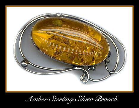 STERLING SILVER AMBER BROOCH #64