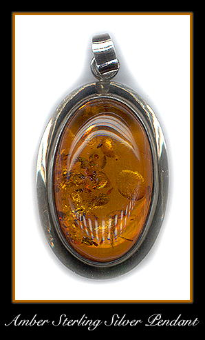 STERLING SILVER AMBER PENDANT #65