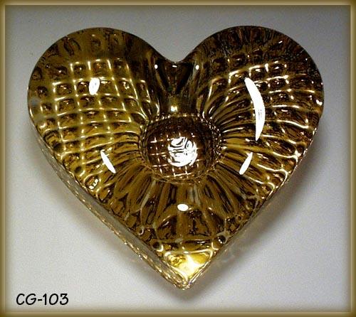 CZECH ART GLASS HEART PAPERWEIGHT / CANDLESTICK