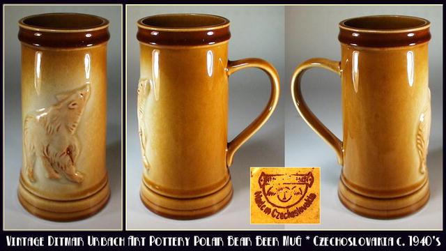 CZECH D. URBACH POLAR BEAR BEER STEIN / CP025