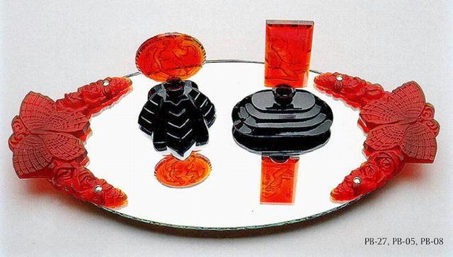 CZECH DECO PERFUME BOTTLE RED SIRENS / NPB005