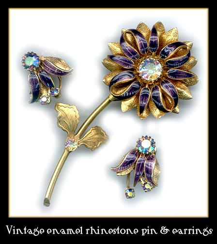 VINTAGE ENAMELED PIN EARRINGS SET CJ-9