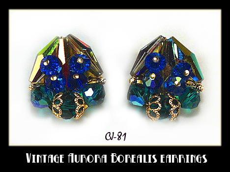 VINTAGE AB, BLUE, GREEN CRYSTAL EARRINGS  CJ-81