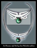 VINTAGE MEXICAN STERLING MALACHITE NECKLACE