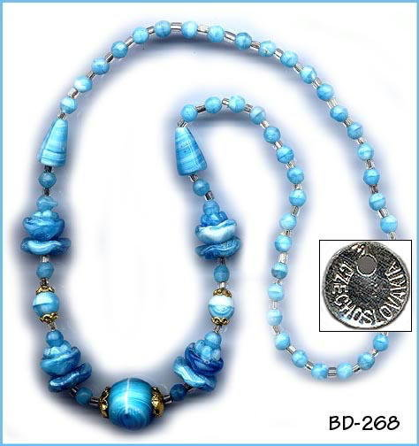 (10) CZECH VINTAGE ART DECO BLUE NECKLACES #268