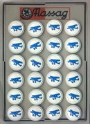 24 BLUE AIRPLANE PICTURE BUTTONS 1930-40 CARD