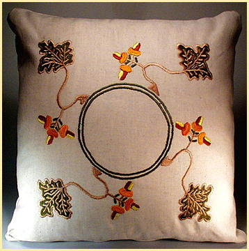 ARTS & CRAFTS EMBROIDERED ACORNS PILLOW