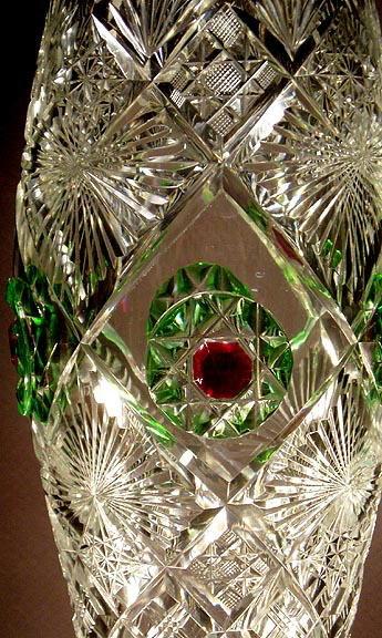 UNUSUAL ANTIQUE CUT GLASS VASE GL53