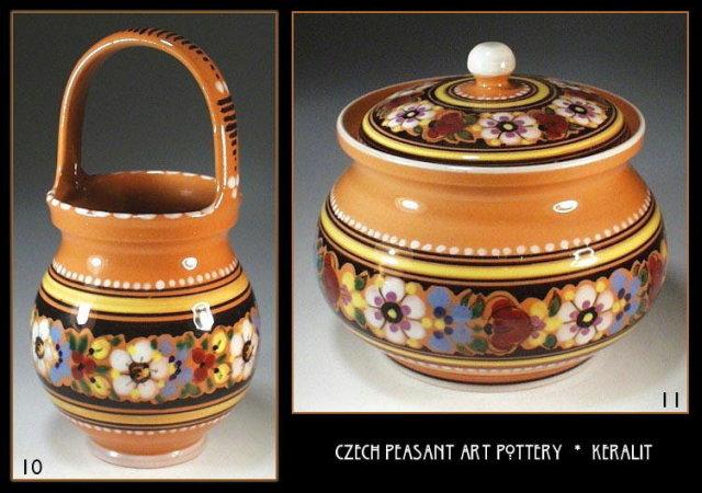 CZECH PEASANT ART POTTERY 4 pc set