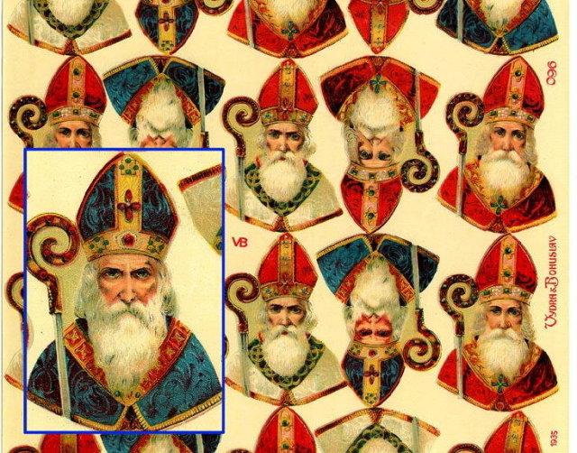 LARGE UNCUT OLD SCRAP SHEET ST. NICHOLAS P15