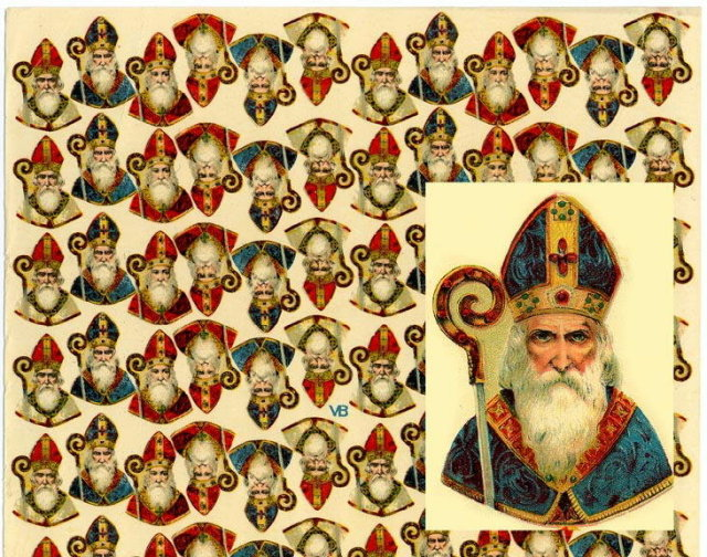 (2) LARGE UNCUT OLD SCRAP SHEETS ST. NICHOLAS