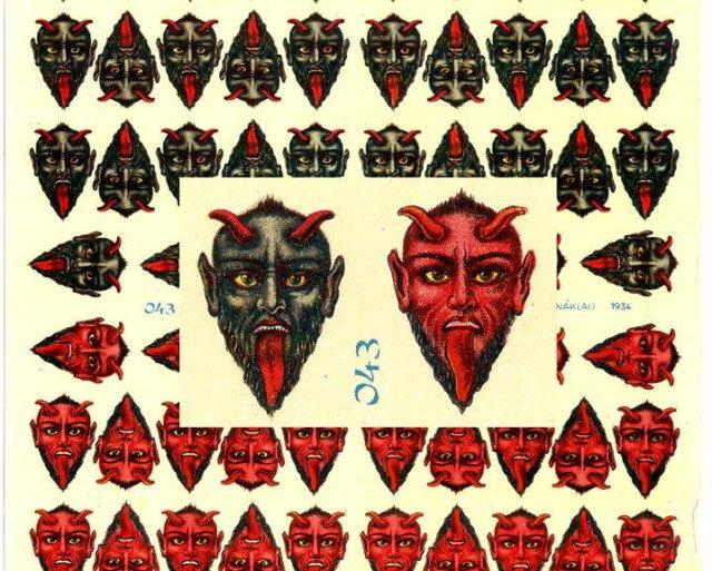 RARE LARGE UNCUT OLD SCRAP SHEET GREY/RED DEVIL P11