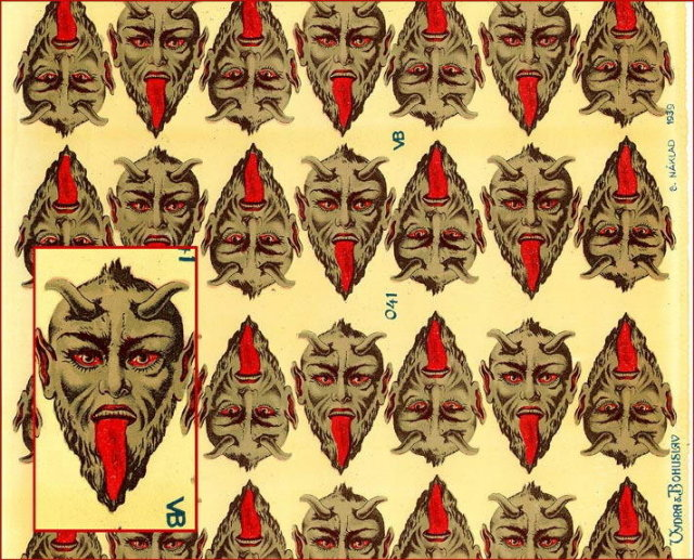 2 RARE LG UNCUT OLD SCRAP SHEET GREY DEVIL P12
