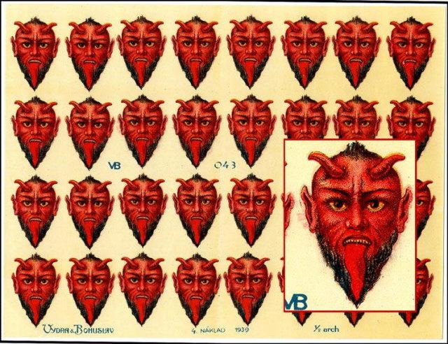 3 RARE UNCUT OLD SCRAP SHEETS RED DEVIL HEAD P13