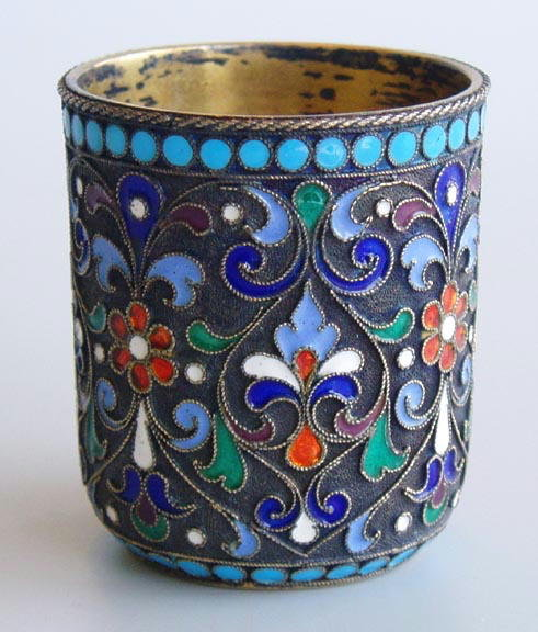 IMPERIAL RUSSIAN ANTIQUE SILVER ENAMELLED CUP