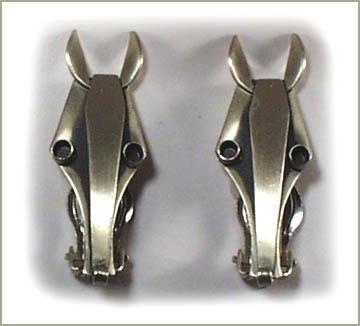 STERLING SILVER ART DECO HORSE HEAD EARRINGS