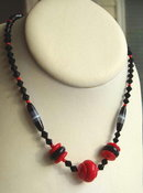 CZECH ART DECO RED & BLACK NECKLACE #31
