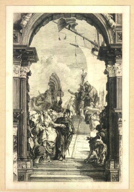 ANTIQUE circa 1800-50 ENGRAVING ON SILK P106