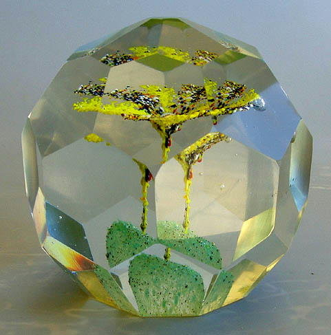 ANTIQUE FACETED BOHEMIAN GLASS PAPERWEIGHT GL73