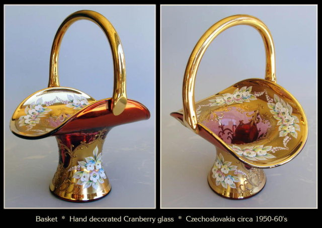 GORGEOUS CZECH ENAMELED CRANBERRY GLASS BASKET