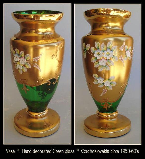 GORGEOUS CZECH GREEN ENAMELED GLASS VASE #95
