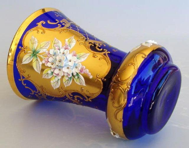 VINTAGE CZECH COBALT BLUE ENAMELED GLASS VASE