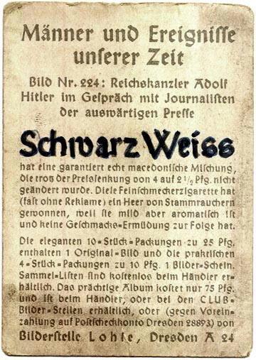 GERMAN pre WWII CIGARETTE CARD c. 1930's P117