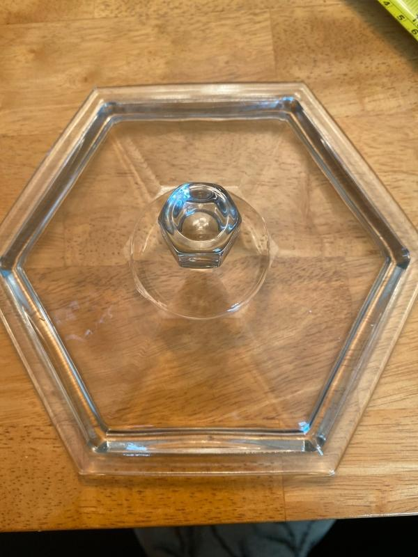 Pressed glass paneled candy dish with lid