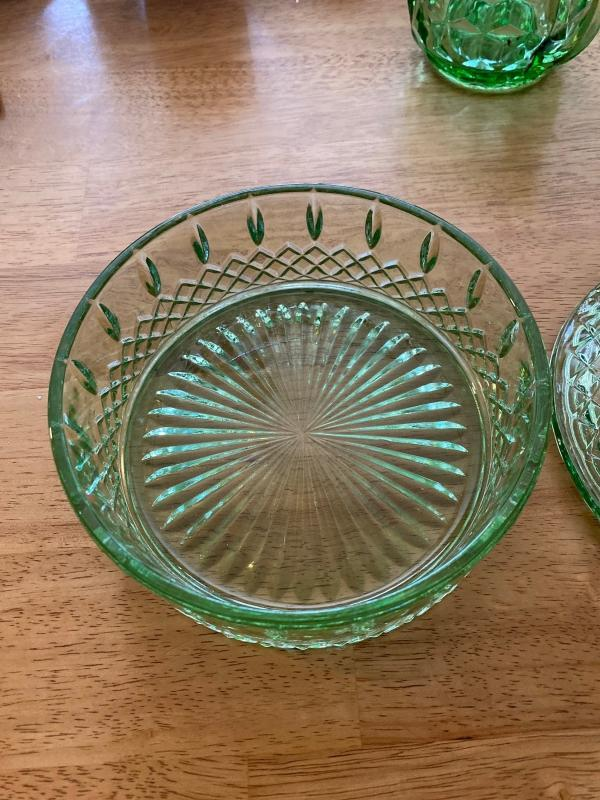 Depression green glass candy bowl with lid.