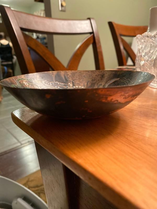 1950���s metal and enamel bowl-made in Holland