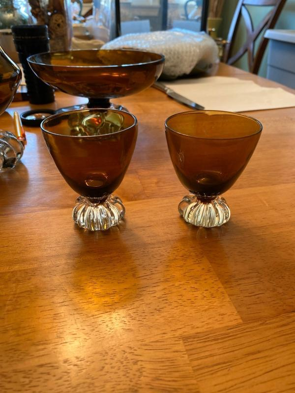 Beautiful set of mid century amber glass with clear bottoms. Vase, Footed bowl and two votives included