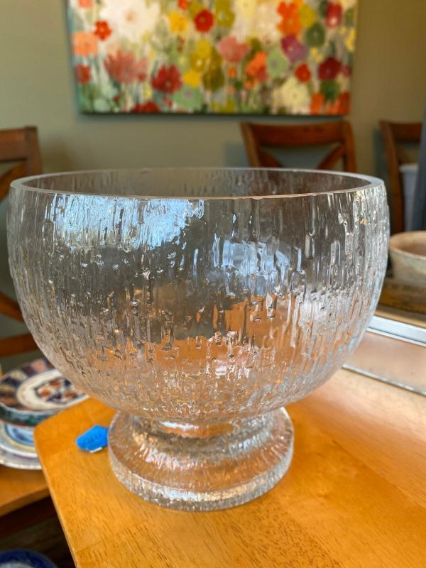 iittala Finland Kekkerit Large Footed Glass Bowl Designed by Timo Sarpaneva